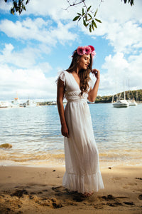 TARA MAXI WRAP DRESS IN WHITE - DRESS - Koogal.com.au