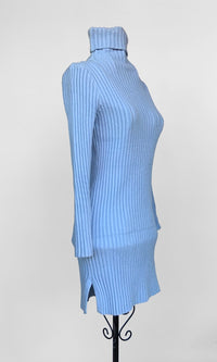 Lucy Blue Turtle neck Knitted Sweater Dress - DRESS - Koogal.com.au