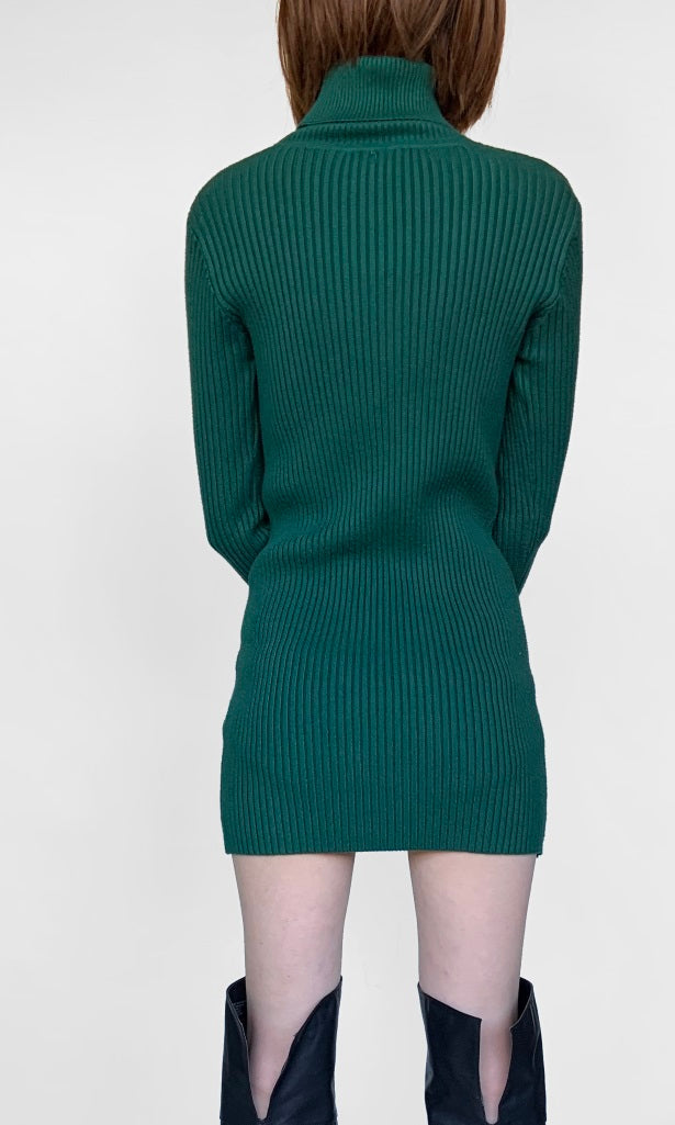 Sacramento Green Turtle Neck Knitted Jumper Dress - DRESS - Koogal.com.au