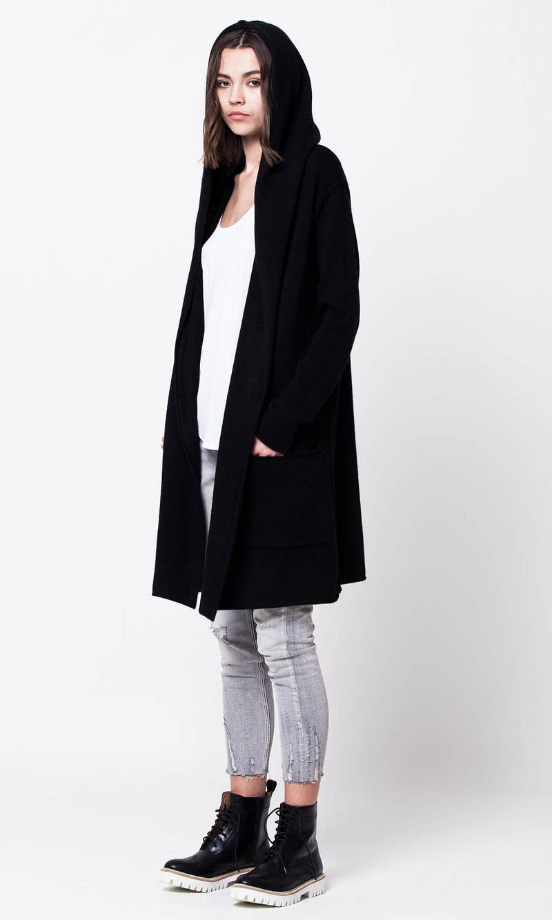 IVY LONG SLEEVE HOODED CARDIGAN in BLACK - TOP - Koogal.com.au