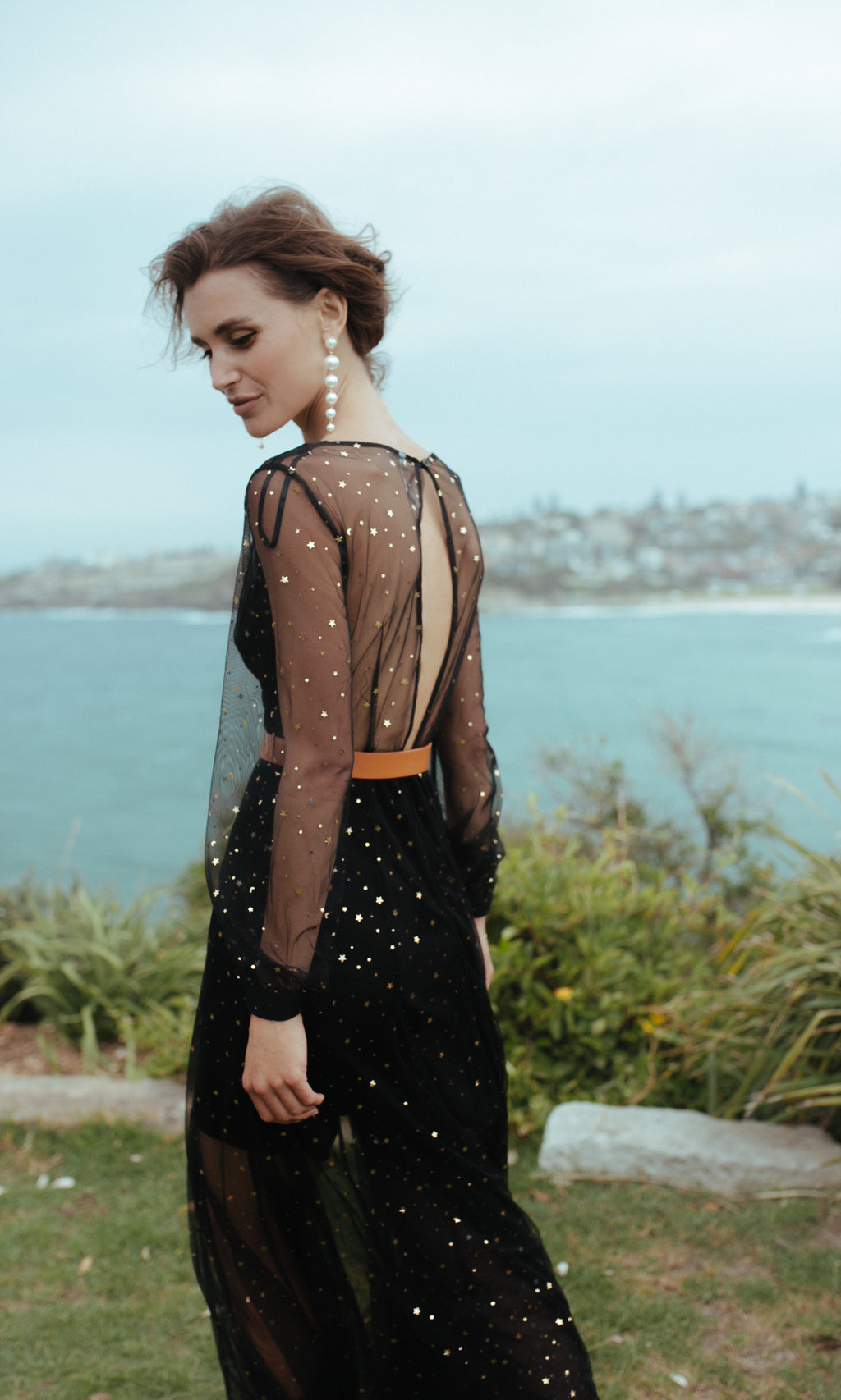 AMONG THE MOON AND THE STARS SHEER SEQUIN MAXI PARTY DRESS