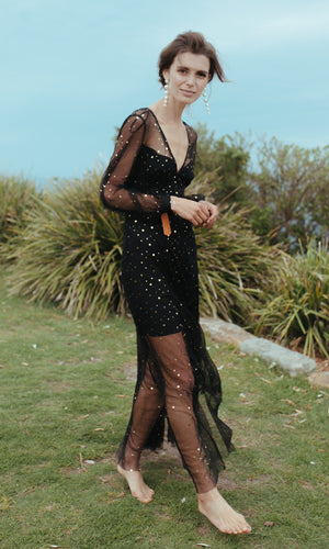 AMONG THE MOON AND THE STARS SHEER SEQUIN MAXI PARTY DRESS - DRESS - Koogal.com.au