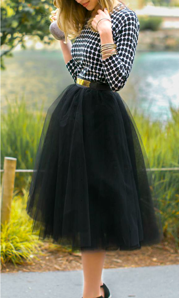 MOONRISE TULLE MIDI SKIRT in BLACK