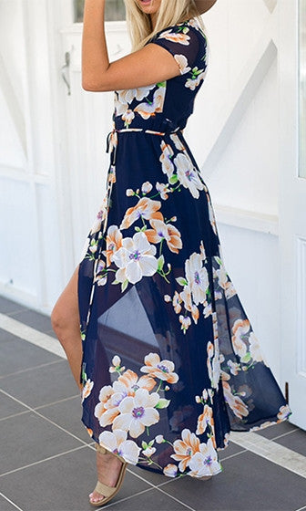 FLORAL MAXI WRAP DRESS - DRESS - Koogal.com.au
