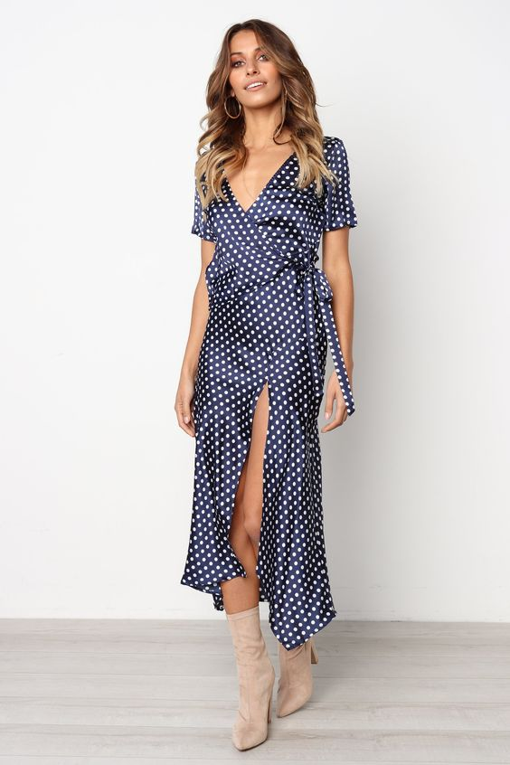 MILA WRAP DRESS IN BLUE POLKA DOT