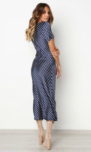 MILA WRAP DRESS IN BLUE POLKA DOT - DRESS - Koogal.com.au