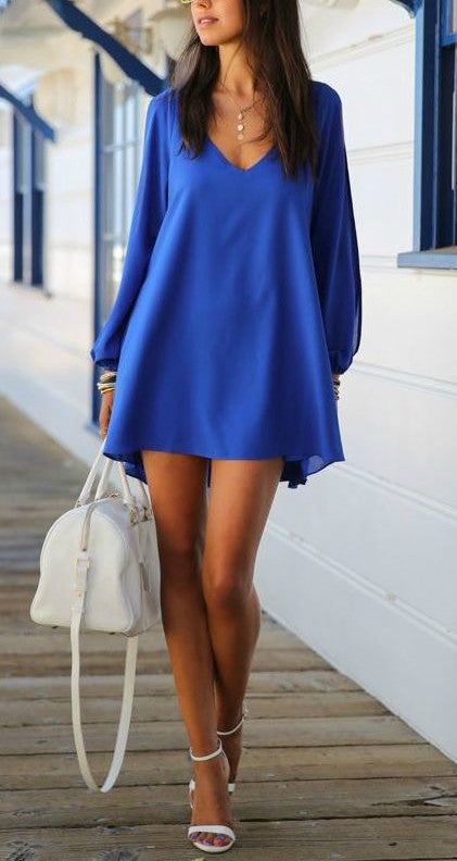 COLD SHOULDER BLUE SHIRT DRESS - DRESS - Koogal.com.au