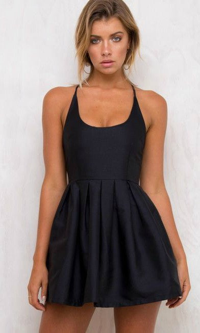 SEXY HALTER HOMECOMING PROM MINI DRESS in NAVY BLUE - DRESS - Koogal.com.au