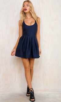 SEXY HALTER HOMECOMING PROM MINI DRESS in NAVY BLUE - Koogal