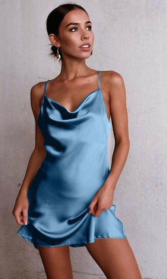 CHIARA SATIN SILK MINI SLIP DRESS in BLUE - DRESS - Koogal.com.au