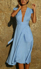 THEIA WRAP DRESS IN SKY BLUE
