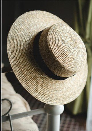 SUN FLOWER WIDE BRIM STRAW BOATER HAT