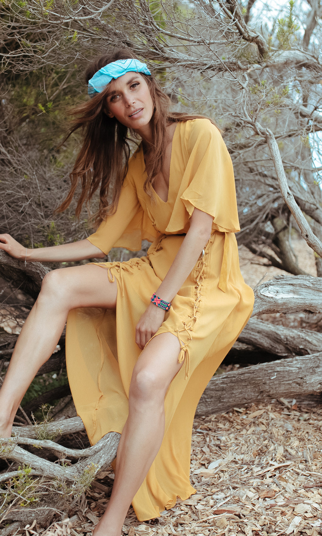 HIPPIE PRINCESS BOHEMIAN MAXI DRESS WITH SLITS IN MUSTARD YELLOW