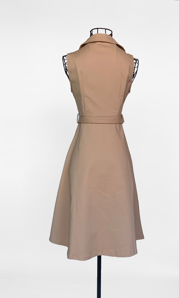 Abby Button Up Sleeveless Midi Blazer Dress in Tan - DRESS - Koogal.com.au