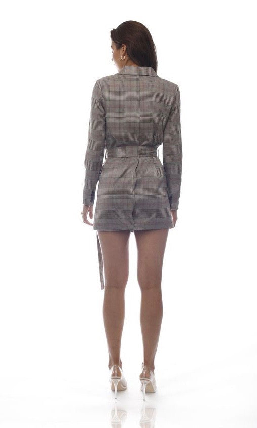 CHECKED BLAZER DRESS WITH BELT - DRESS - Koogal.com.au