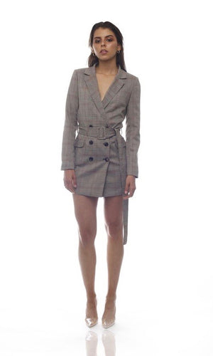 CHECKED BLAZER DRESS WITH BELT in BROWN - DRESS - Koogal.com.au