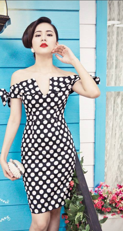 COLD SHOULDER POLKA DOT DRESS - DRESS - Koogal.com.au