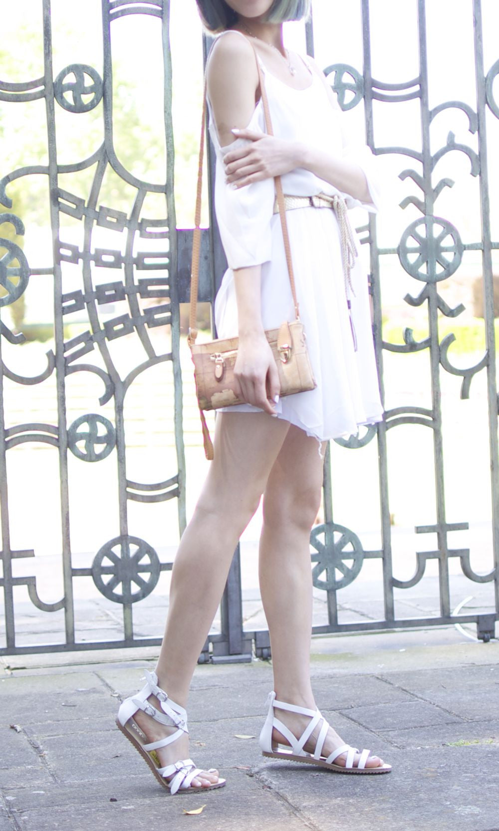 COLD SHOULDER WHITE SHIRT DRESS