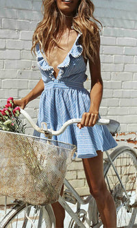 CICI MINI DRESS IN BLUE - DRESS - Koogal.com.au