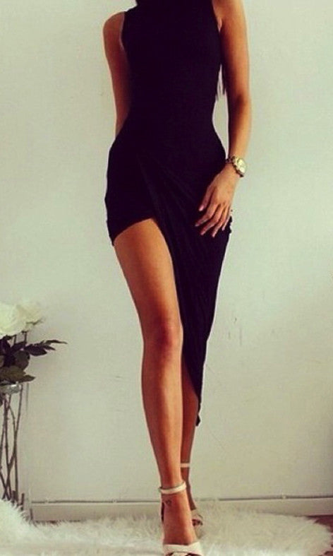 SILENT LOVE DRAPE MIDI DRESS in BLACK