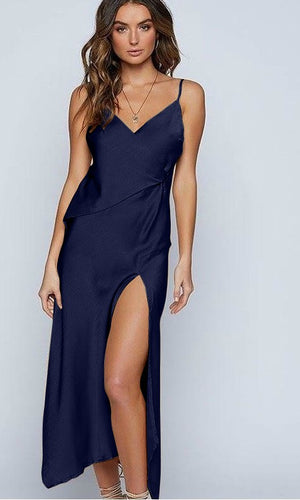 INDIE SILK SATIN FLOWY PROM MIDI SLIP DRESS in NAVY - DRESS - Koogal.com.au