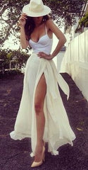 WHITE MOON PLEAT CHIFFON MAXI SKIRT in WHITE