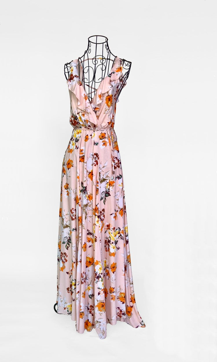 Pink Summer Floral Maxi Slit Dress with Laced Back - DRESS - Koogal.com.au