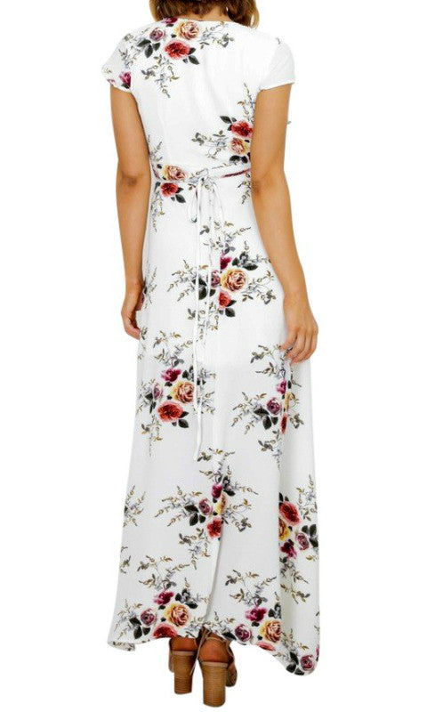 YESTERDAY FLORAL MAXI WRAP DRESS