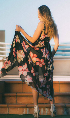 IZZY FLORAL MAXI WRAP DRESS - DRESS - Koogal.com.au