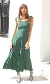 ENVY LONG JUMPSUIT WITH BOW ON SHOULDER IN EMERALD GREEN - jumpsuit - Koogal.com.au