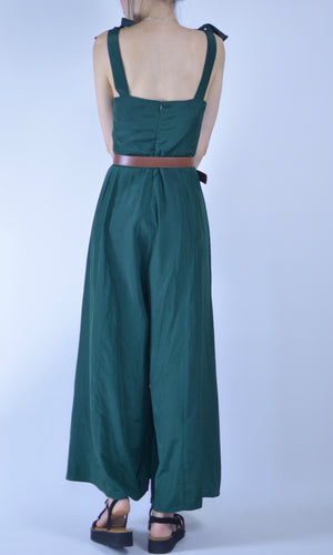 ENVY LONG JUMPSUIT WITH BOW ON SHOULDER IN EMERALD GREEN