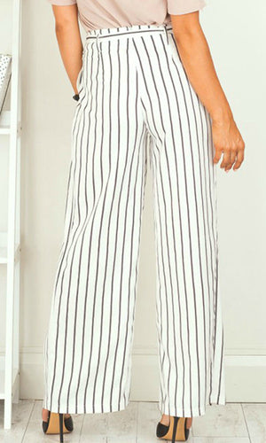HIGH WAISTED WIDE LEG STRIPE PANTS - BOTTOMS - Koogal.com.au