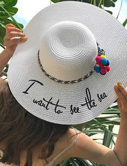 SEE THE SEA WHITE BRIM HAT WITH RAINBOW POM POM