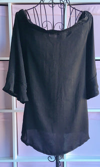 BLACK SILKY OFF THE SHOULDER BLOUSE TOP -  - Koogal.com.au