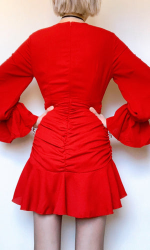 KATARA MINI LONG SLEEVE DRESS IN RED - DRESS - Koogal.com.au