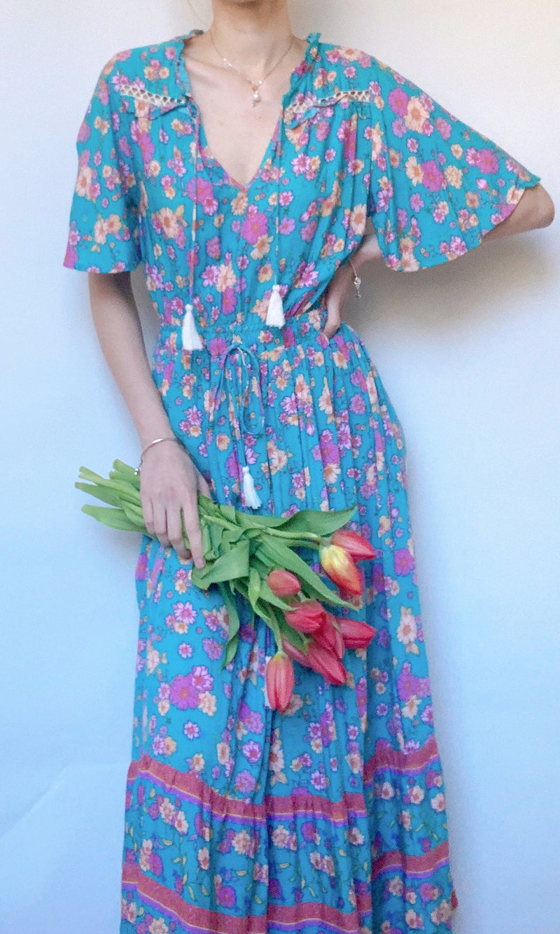 NANA MAXI BOHO BEACH DRESS IN AQUA - Koogal