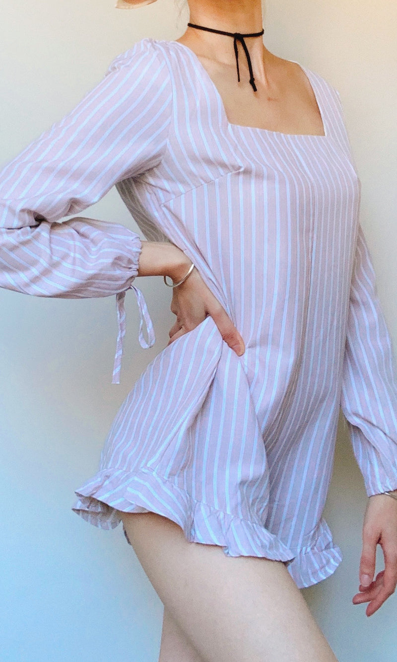 GIANNA LONG SLEEVE VERTICAL STRIPES SHORT JUMPSUIT - DRESS - Koogal.com.au