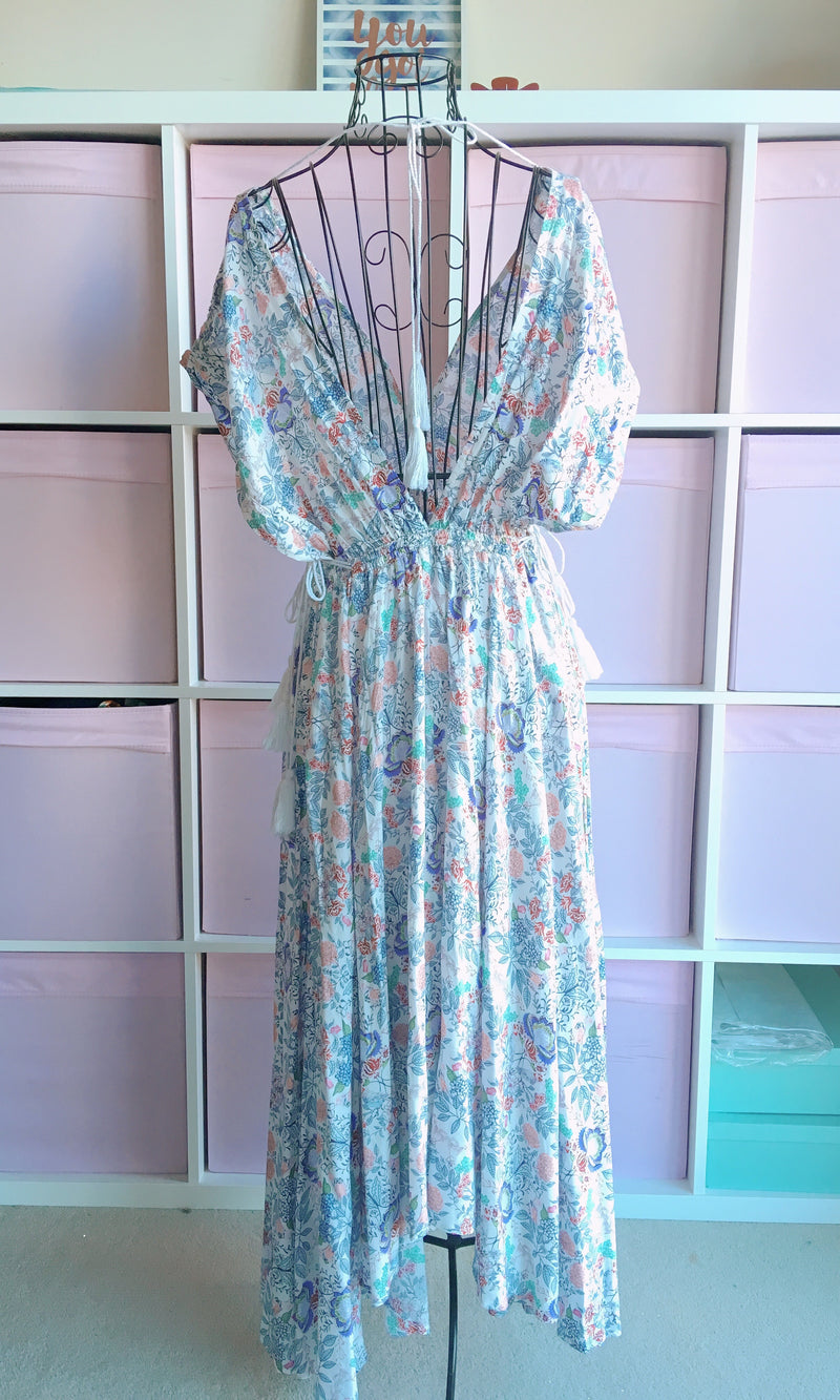 PORCELAIN FLOWY MAXI DRESS - DRESS - Koogal.com.au