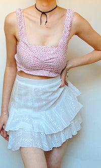 HANNAH RUFFLE MINI SKIRT IN WHITE - BOTTOMS - Koogal.com.au