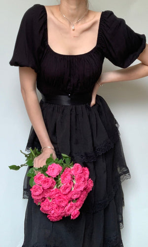 MONTANA GOTH MESH TULLE MAXI SKIRT IN BLACK - BOTTOMS - Koogal.com.au