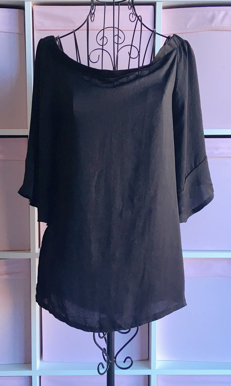 BLACK SILKY OFF THE SHOULDER BLOUSE TOP