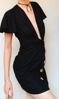 SOPHIA BLACK DEEP V NECK MINI DRESS - DRESS - Koogal.com.au