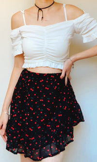 CHERRY ON TOP MINI CHIFFON SKIRT - BOTTOMS - Koogal.com.au