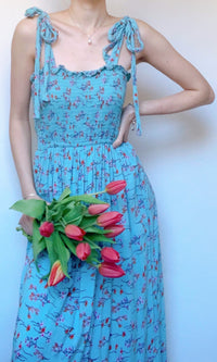 JOYCE BOW TIED FLORAL MAXI DRESS - DRESS - Koogal.com.au
