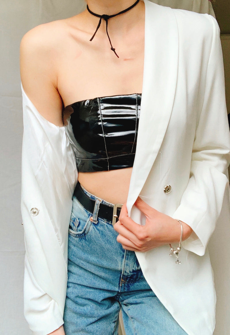GIRL BOSS CROP TOP VINYL BOOB TUBE in BLACK - TOP - Koogal.com.au