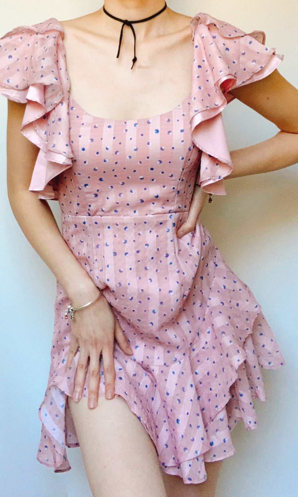 ADA MINI SHORT RUFFLE SLEEVE DRESS  IN PINK - DRESS - Koogal.com.au