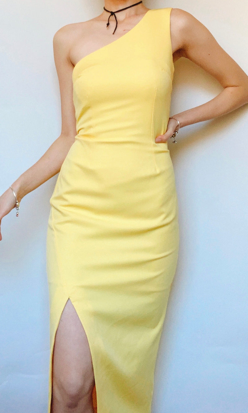 SUNFLOWER ONE SHOULDER MIDI DRESS IN YELLOW - DRESS - Koogal.com.au