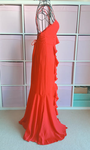 MELISANDRE RED FLOWY BACKLESS MAXI PROM DRESS