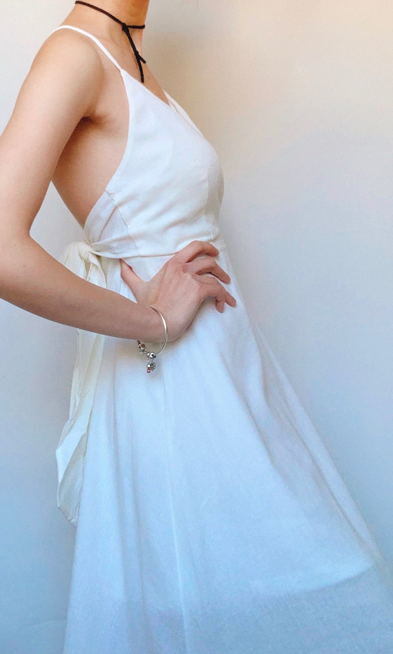 AFTERNOON DEW LINEN MIDI DRESS BACKLESS IN WHITE - Koogal