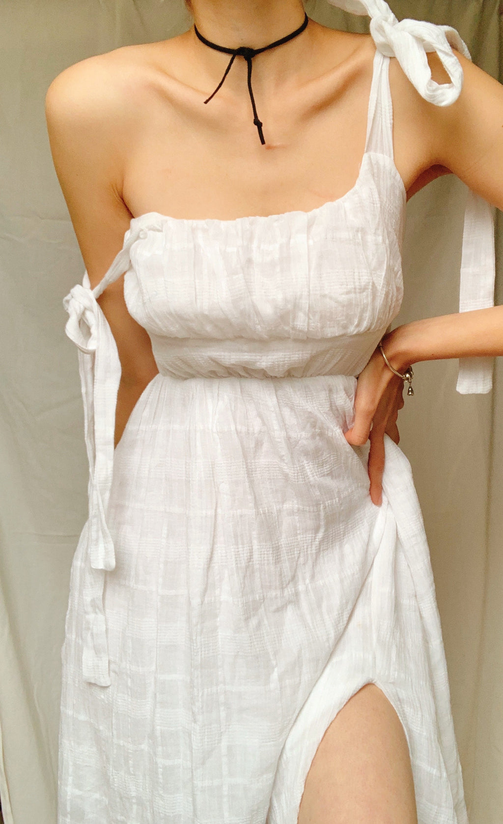 PASITHEA BOW TIED MIDI DRESS IN WHITE - DRESS - Koogal.com.au